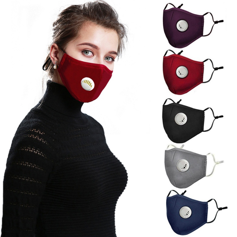 Reusable Dust Mask Anti-Dust Breath Valve Facial Protective Cover Ear-loop Face Mask Activated Carbon Filters PM2.5 Masks
