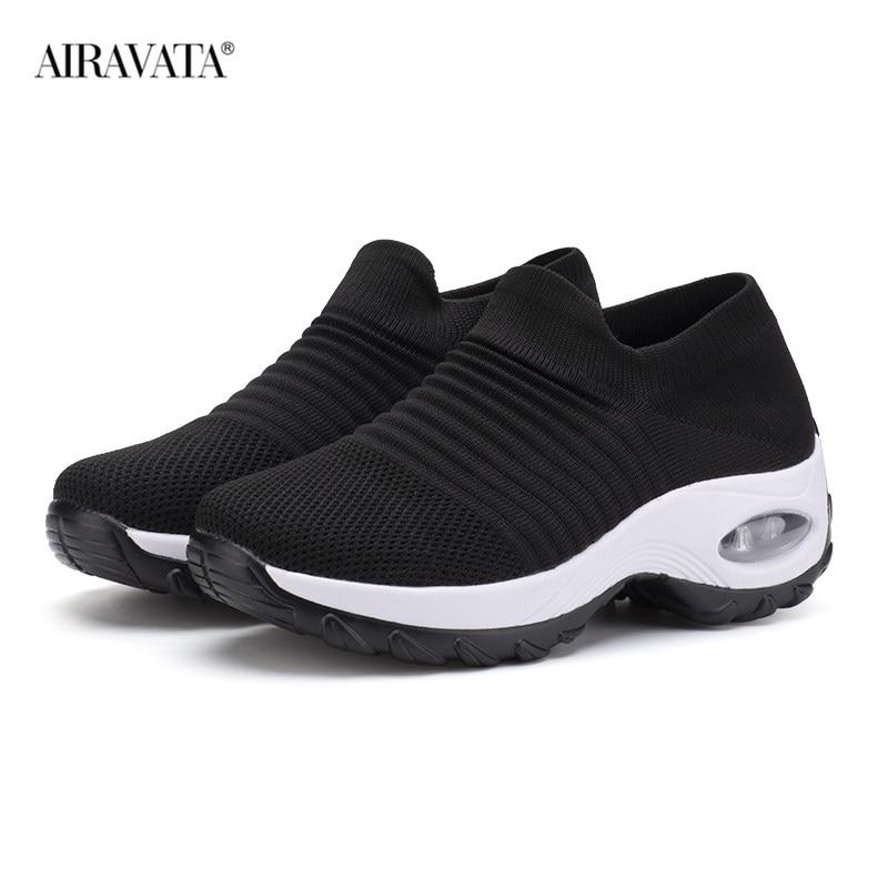 Black3-Women's walking shoes Fashion Casual Sport Shoes Platform Sneakers