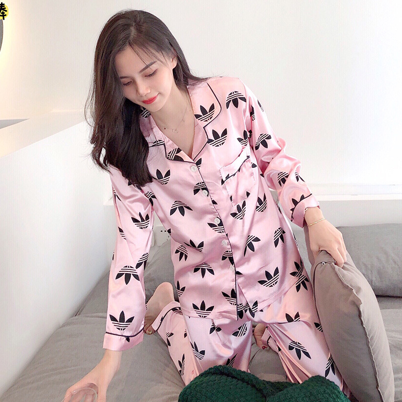 New Style Pajamas Women's Autumn Viscose Long Sleeve Korean-style Thin Two-Piece Set-Outer Wear Sexy Silk Home Wear