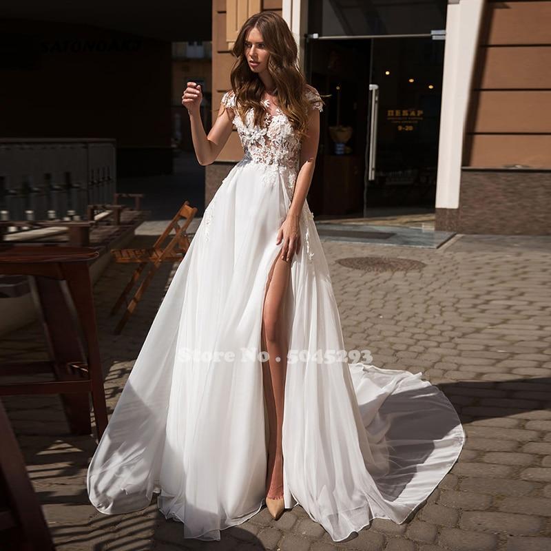 SATONOAKI Beach Boho Wedding Dress Summer Side Slit Wedding Dress Lace Appliques Bride Dress Backless Weeding Gowns Robe Mariage