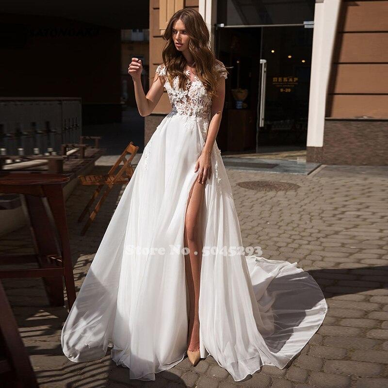 SATONOAKI playa Bohemia boda Vestido vestido de verano hendidura lateral boda Vestido de encaje apliques de vestido de novia sin espalda vestidos de boda traje de Mariage