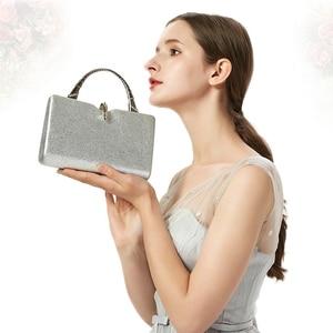 Image 5 - כסף מצמד שקיות נשים עור מפוצל תיקי יוקרה מעצב חתונה מצמד ארנקי אלגנטי כתף תיק Bolso mujer ZD1358