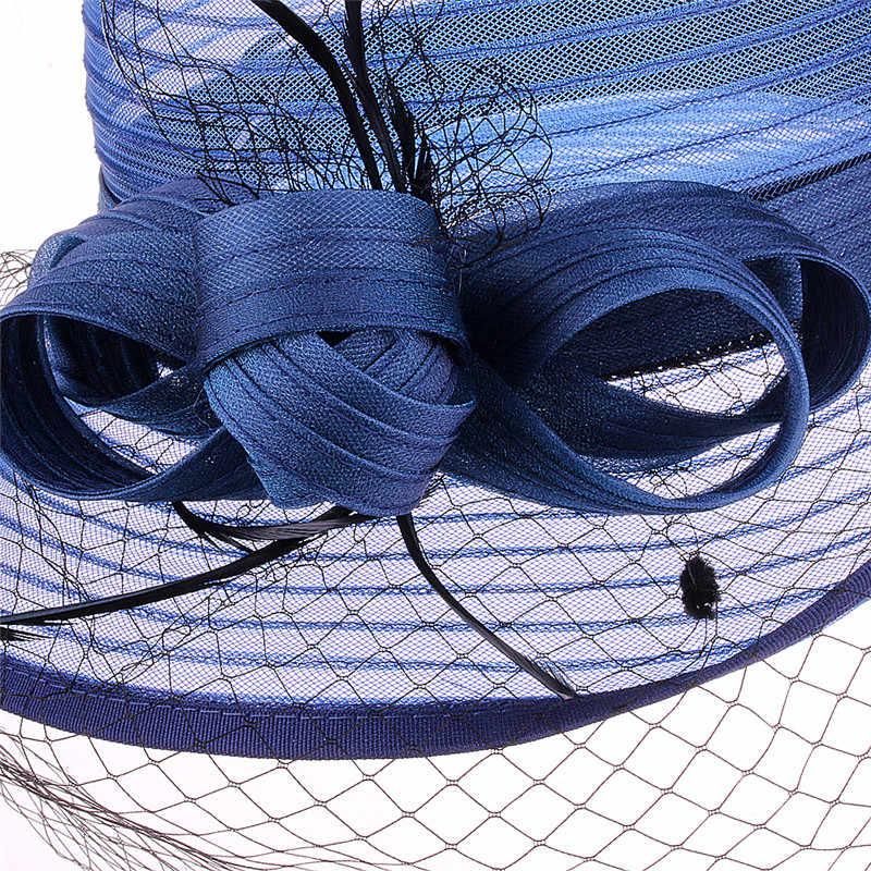 CRUOXIBB ผู้หญิง Kentucky Derby แต่งตัว Bowler โบสถ์ Cloche หมวกปาร์ตี้งานแต่งงานหมวก Elegant Organza เจ้าสาวหมวกฤดูร้อน