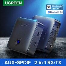 Ugreen Bluetooth 5.0 수신기 송신기 4.2 aptX HD CSR8675 TV 헤드폰 용 광학 3.5mm SPDIF Bluetooth AUX 오디오 어댑터