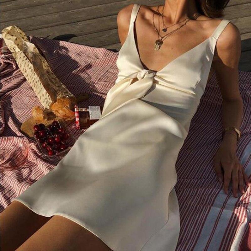 Shyloli женское атласное сексуальное платье с низким воротником, пижамы, вечерние, Клубные, трапециевидные, с галстуком бабочкой, мини платье на бретельках, Пляжное, для пикника, отдыха Платья      АлиЭкспресс