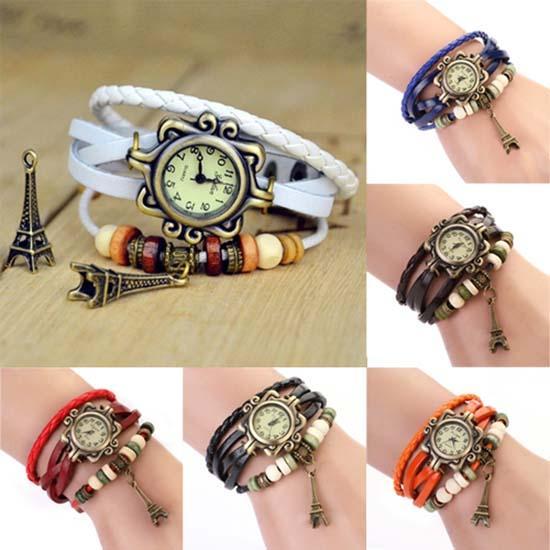 Vintage Women Watch Paris Tower Multilayer Braided Faux Leather Strap Bracelet Clock Wrist Watch Reloj Mujer Ladies Watches