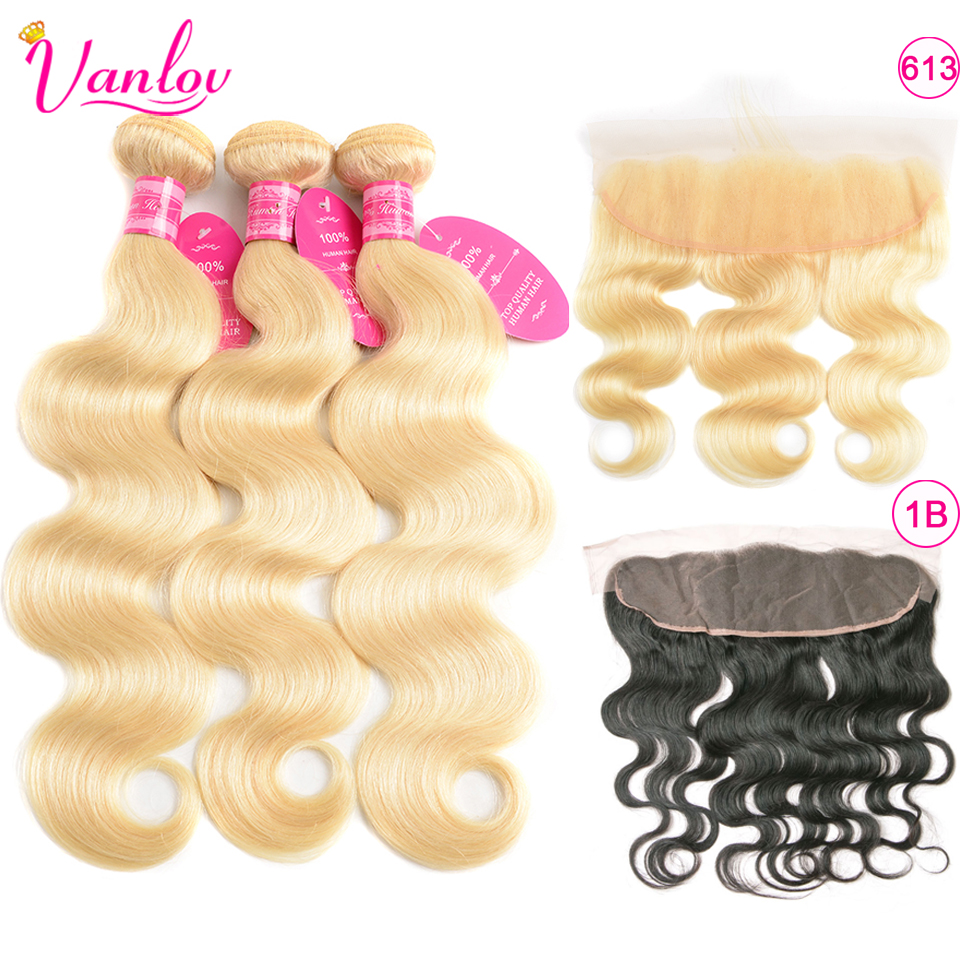 Vanlov 613 Bundles With Frontal Black Peruvian Body Wave Blonde Human Hair Bundles With Closure Lace Frontal With Bundles Remy