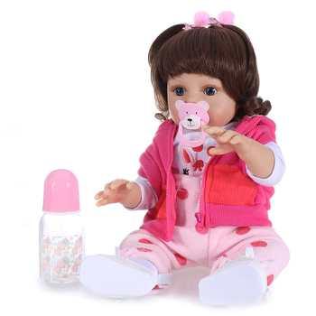 Pickwoo 48CM Popular Full Body Soft Silicone Doll Reborn Baby Girl in The Giraffe Dress Set Christmas Gift Neborn Baby