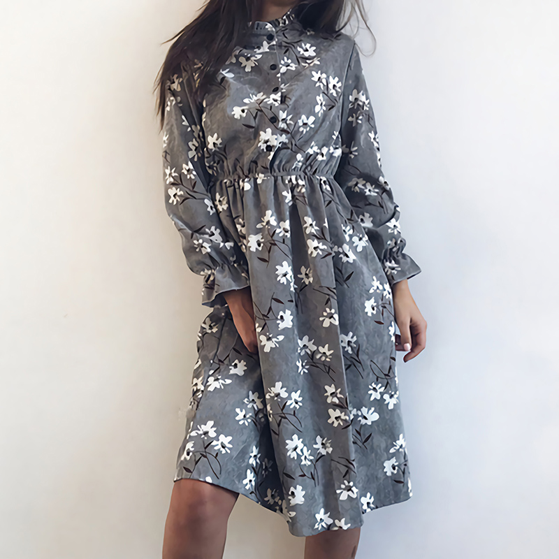 Winter Korean Print Flowers Women Kawaii Dress Vintage Long Sleeve Mid-Calf Party Dress Button O-Neck Vestidos Cute Clothing