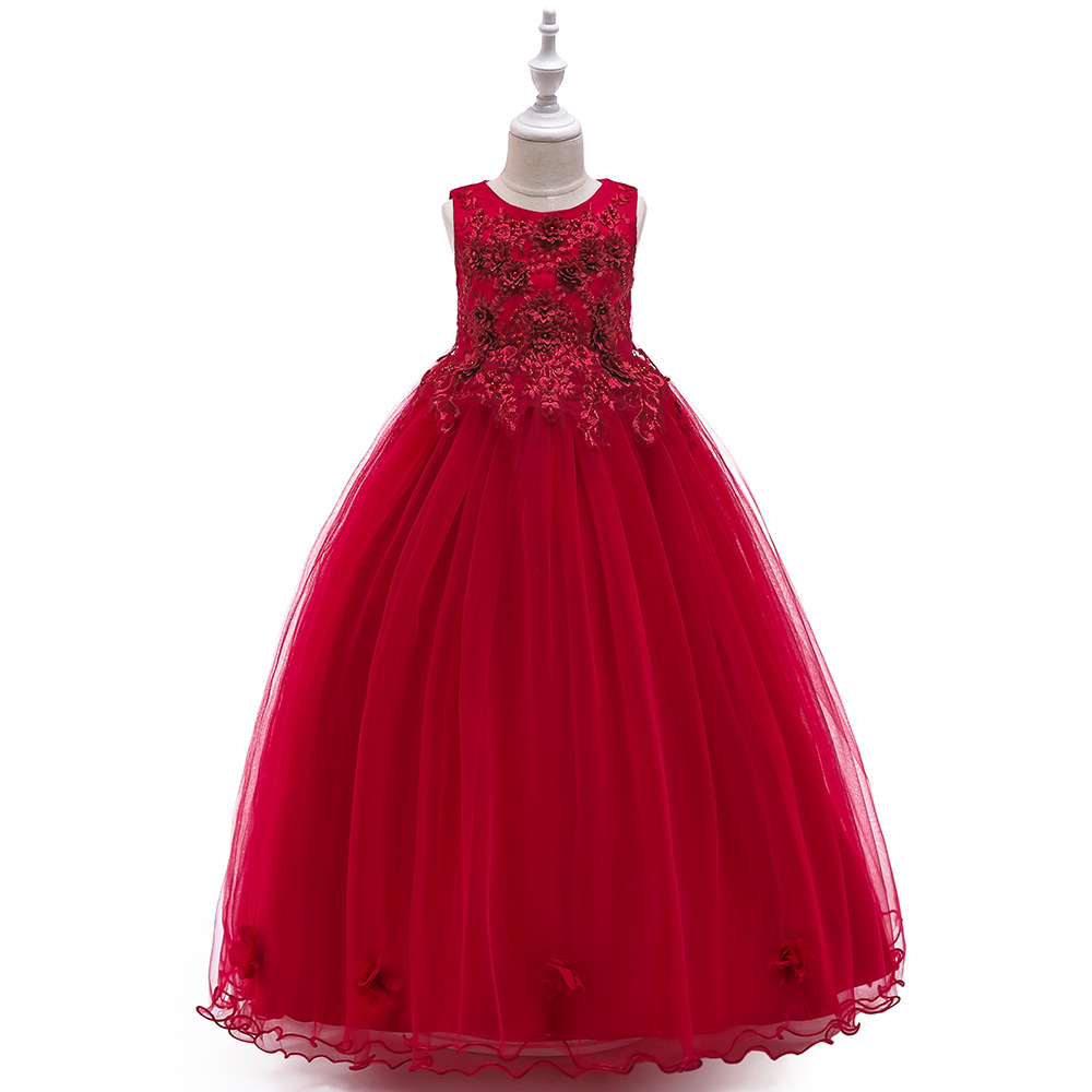 Europe And America Girls Evening Dress Dresses Of Bride Fellow Kids Sleeveless Princess Dress CHILDREN'S Wedding Dress Host Perf