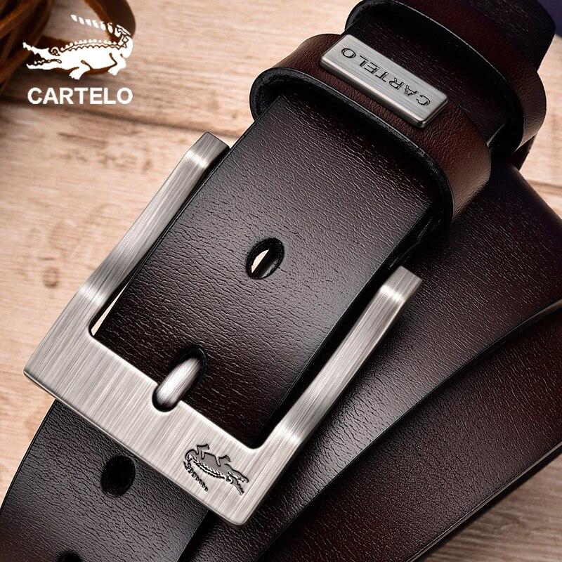 Мужской кожаный ремень с пряжкой CARTELO, повседневный классический винтажный ремень из воловьей кожи с пряжкой, высокое качество|Мужские ремни|   | АлиЭкспресс