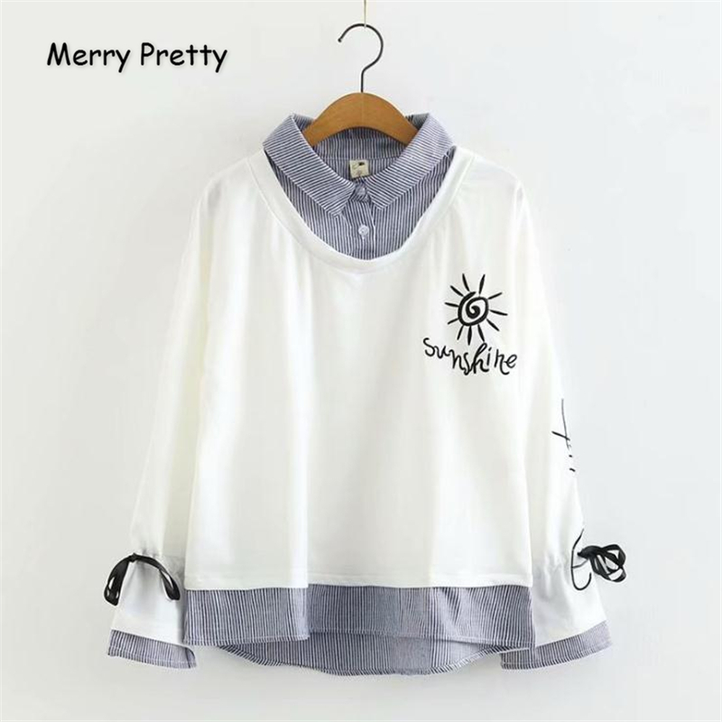 Merry Pretty Women Letter Embroidery Hoodies Sweatshirts 2019 Winter Long Sleeve Turndown Collar Striped Patchwork Pullovers