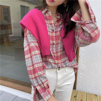 Plus Size Fashion Blouse Woman Long Sleeve Pink Clothes Plaid Shirts Womens Korean Style Harajuku Tops Students Kawaii Blouses harajuku streetwear ol long sleeve chiffon blouse korean style womens tops and blouses 2019 fashion tops 5xl 6xl ladies clothing