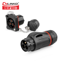 CNLINKO Anti static M24 PBT Plastic 3 Pin 20A Quick Push Pull Screwing Lock Panel Mount Waterproof IP67 Connectors 3Pin Adapter