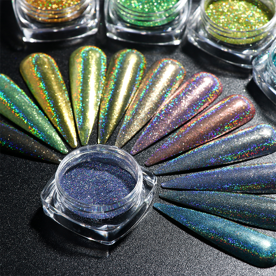 Holographic Nail Glitter Powder Laser Dipping Sequins Pigment Nail Art Gradient Mirror Chrome Dust Shining Polish Flake BE1028-2 (4)