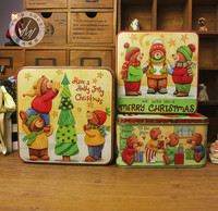 Amazing beautifully fine splendidly super Christmas square set iron large box baking cookie surger tin three pieces in one set