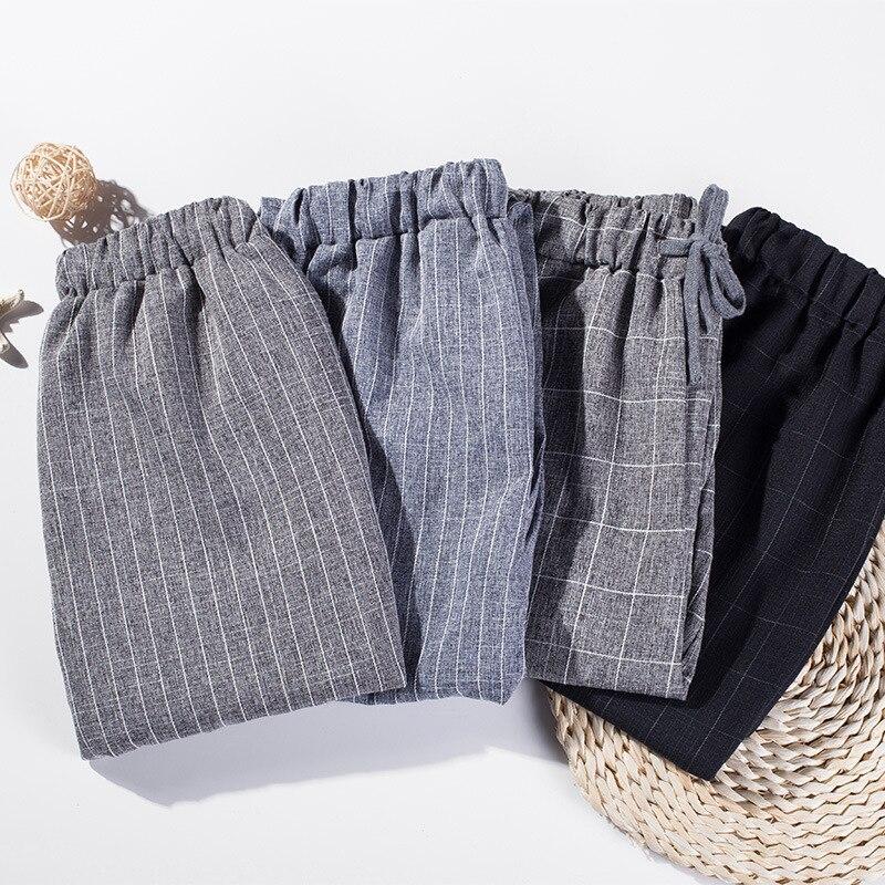 Cotton Linen Autumn Summer Casual Trousers Female Thin Ankle Length Harem Plaid Pants Women Harajuku 2019 New Fashion
