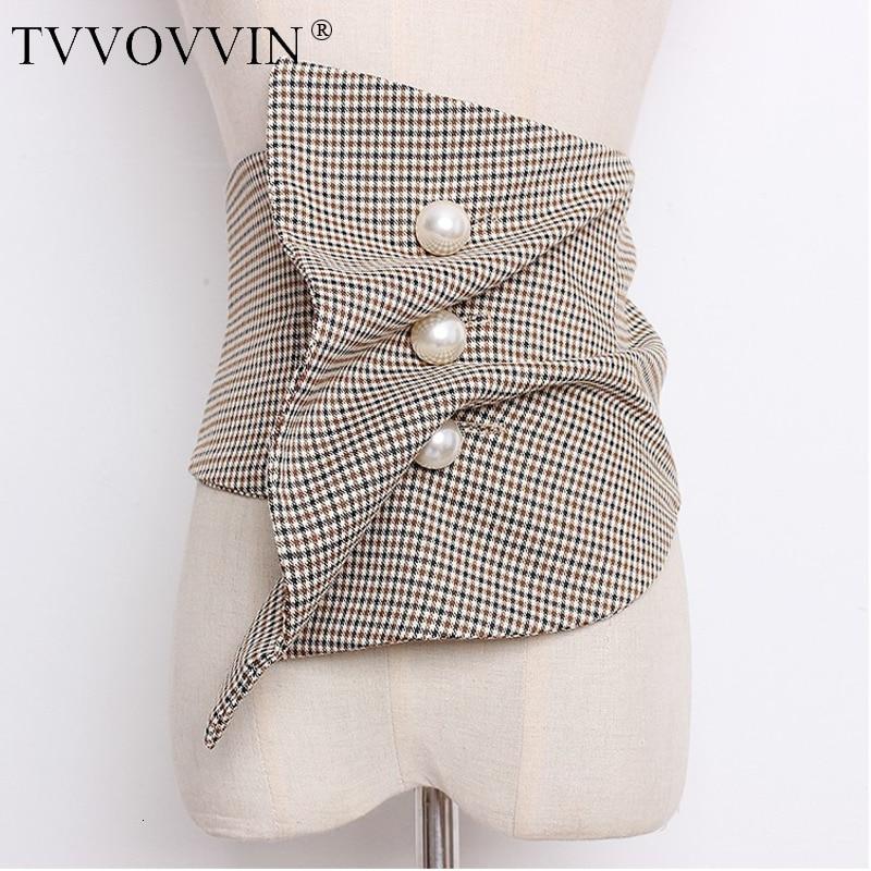 TVVOVVIN 2019 Elastic Wide Girdle Pearl Button Folds Irregular Cummerbunds New  All-match Female's Cloth Accessories E001