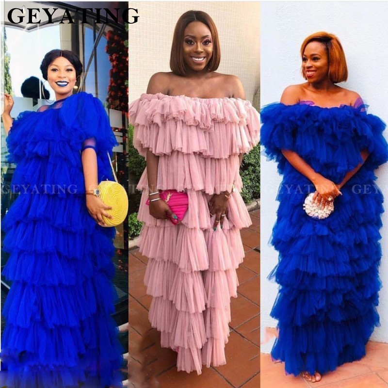 African Royal Blue Tulle Plus Size   Prom     Dresses   2019 Pink Tiered Off The Shoulder Black Women Formal Long Evening Party Gowns