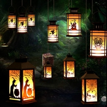 Halloween Flameless Candle Light Decorative Hanging Lantern Battery Lighting Lampion Powered Table Lamp Holiday Party Decoration цены