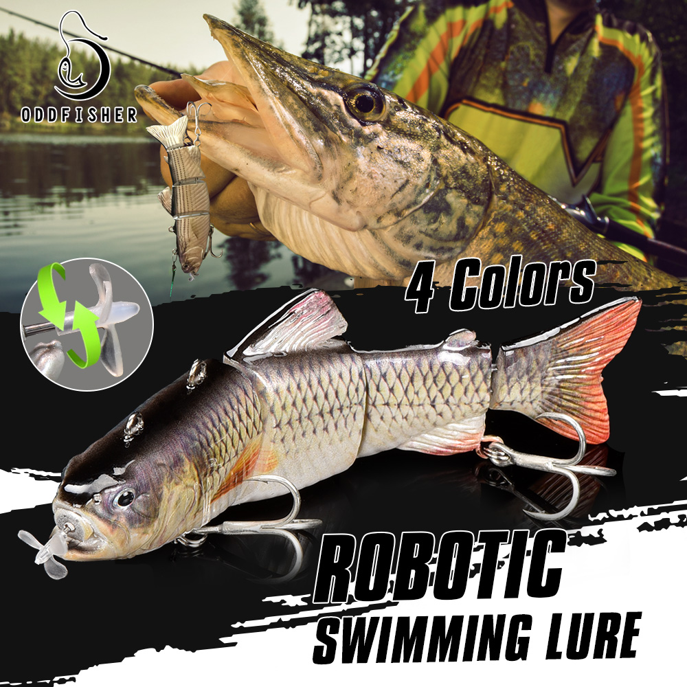 Robotic Swimming Fishing Electric Lures 5.12 USB Rechargeable LED Light 4-Segement Wobbler Multi Jointed Swimbaits Hard Lures Fishing Tackle