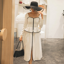 YIGELILA Spring Autumn New Arrivals Patchwork Dress Vintage Square Collar Long S