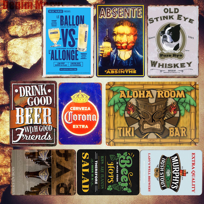 ICE COLD Beer Plaque Retro Metal Tin Sign Whiskey Fresh Taste Poster Bar Pub Casino Decorative Plates High Life Wall Art Sticker