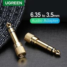 Conector de áudio ugreen, conector jack 3.5, alto falante, 6.35mm macho para 3.5mm fêmea, cabo conector de áudio 3.5 aux para alto falante jack para guitarra 6.35