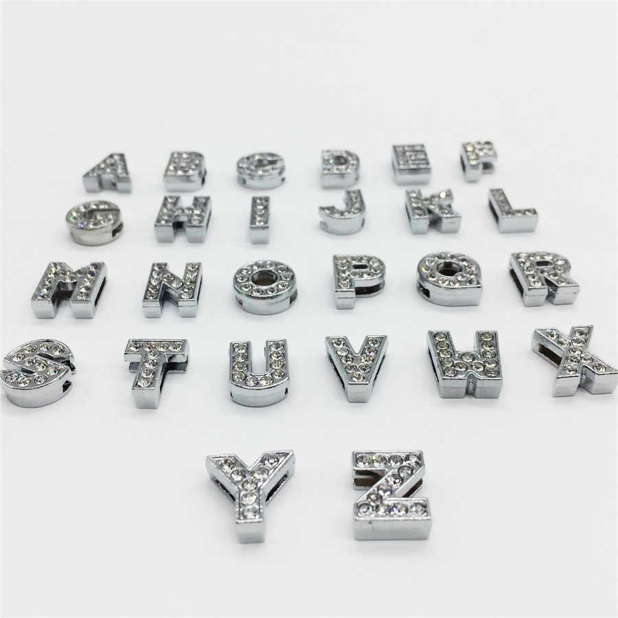 "8MM DIY Silver Rhinestones สไลด์ตัวอักษร ""A-Z"" ตัวอักษรเลือกได้อย่างอิสระ Fit 8MM DIY สร้อยข้อมือ SL01"