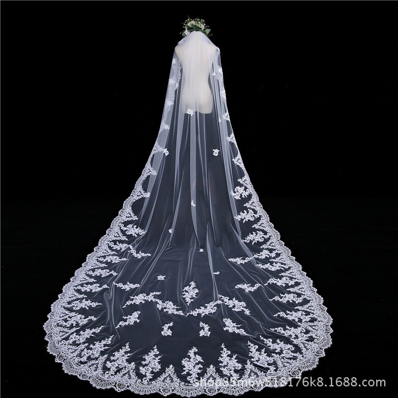 Bride Veil Car Bone Flower Single Layer With Comb 3 M Long Tailing White Veil Studio Photo Shoot Accessories
