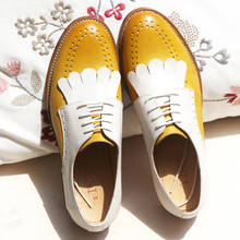 Flats-Shoes Sneaker Brogues Vintage Genuine-Leather Women Yinzo for Red Blue Brown Handmade