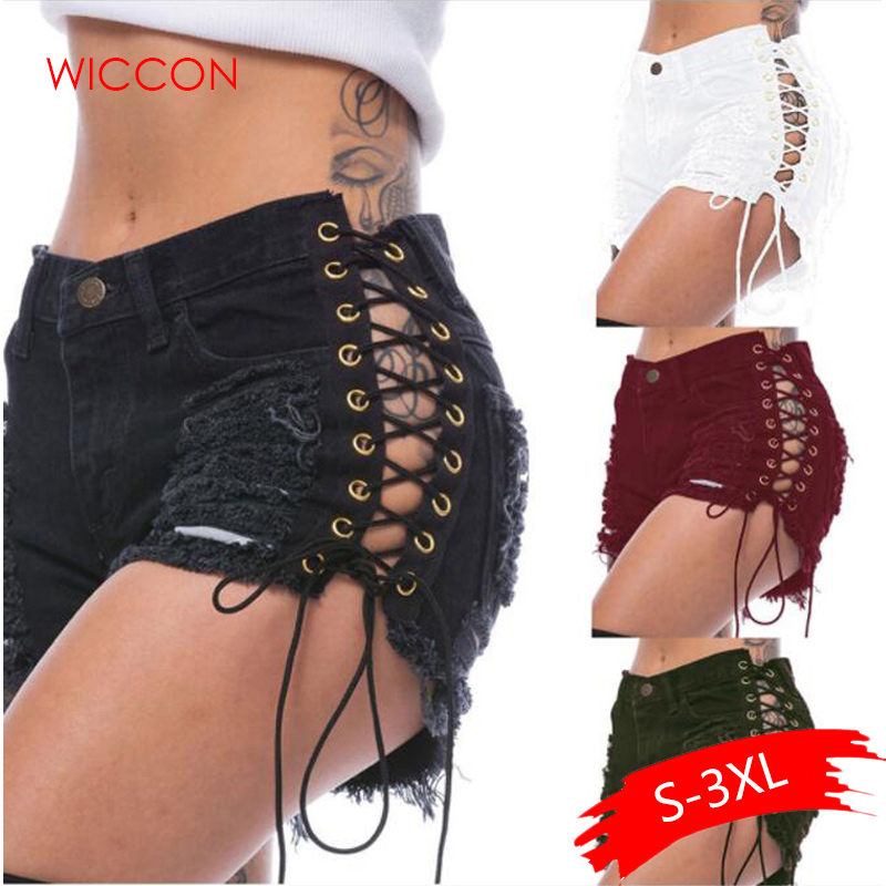 Summer Solid Lacing Women Denim Shorts New Hole Short Feminino Slim Sexy Bandage Jeans Shorts Female Ripped Short Pants