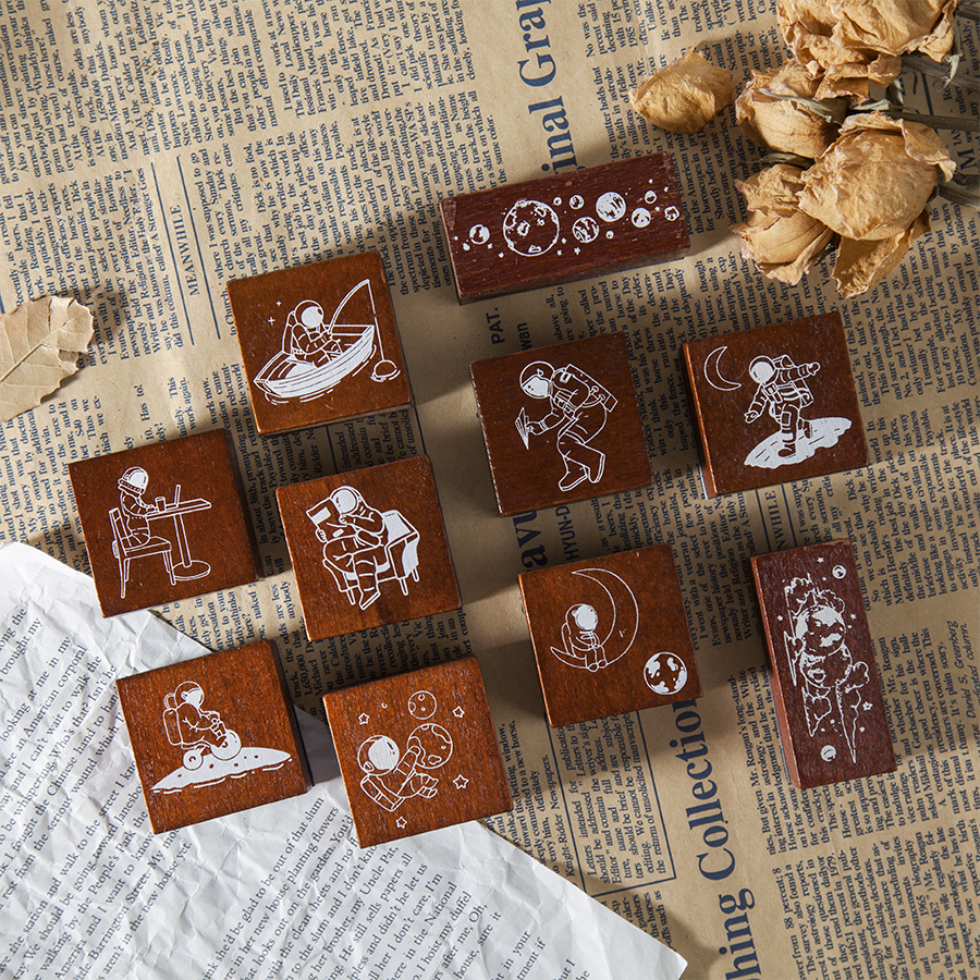 Space Travel Diary Stamps Wooden Rubber Stamp Seal Galaxy Planet Design For Diary Scrapbooking