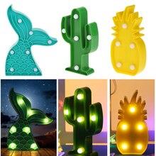 LED Night Light Indoor Wall Lamp Home Kids Bedroom Decoration Mermaid Tail Light Pineapple Cactus Night Light
