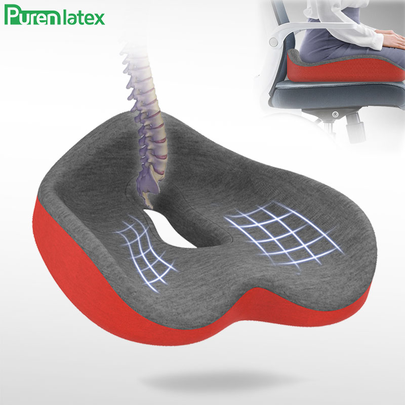 Purenlatex Coccyx Chair Cushion Comfort Memory Foam Seat Orthopedic Pillow For Lower Back Tailbone And Sciatica Pain Relief