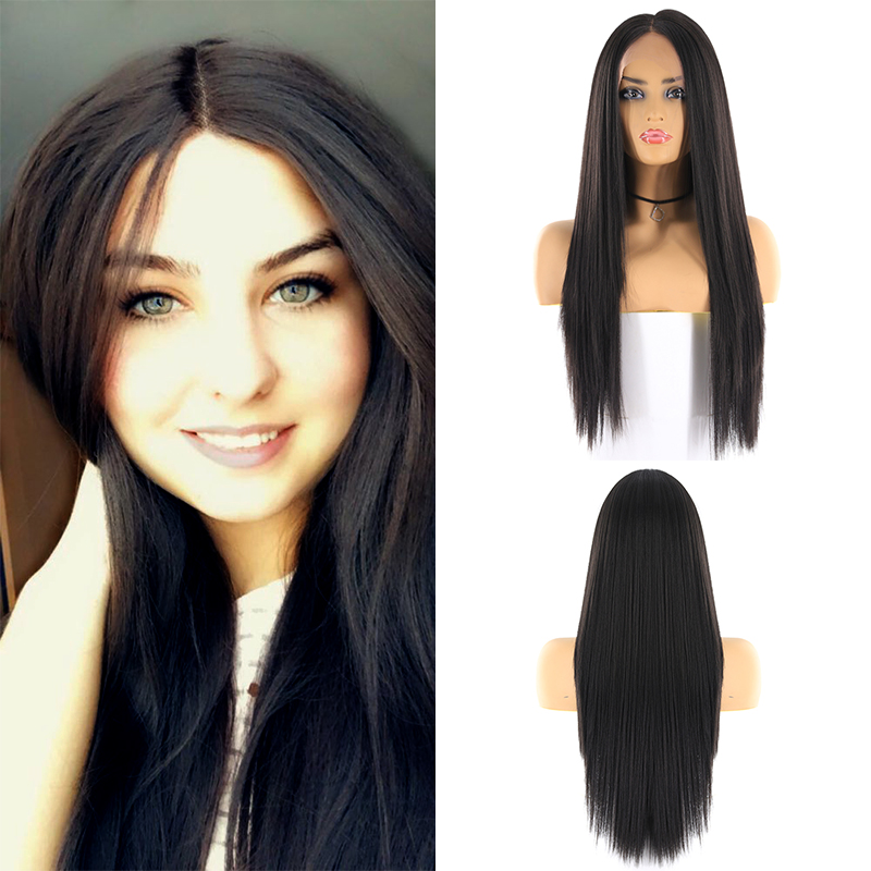 Synthetic Hair Lace Front Wigs For Women X-TRESS Natural Black 1B# Ombre Color 26inch Long Yaki Straight Lace Wig Middle Part