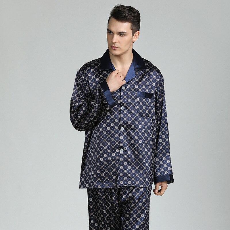 Autumn Stain Silk Pajama Set Men Pajamas Silk Sleepwear Men Sexy Soft Cozy Satin Nightgown