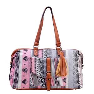 Image 1 - Sac de voyage Jacquard pour femmes, sac de voyage en toile haut de gamme, décontracté, sac fourre tout, cubes, bonne qualité, nouvelle collection