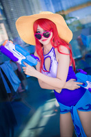 Miss Fortune Game LOL Swimming Pool Party Cosplay Costume Swimsuit Bikinil Halloween Carnival Swimwear