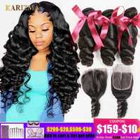 Karizma Brazilian Hair Weave Bundles With Closure Brazilian Loose Wave 3 Bundles With Closure Non Remy Human Hair With Closure