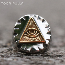 Vintage Gold Triangle Illuminati Masonic Rings Mens Mexican Stainless Steel Punk Biker Ring Freemason Jewelry Gifts светильник illuminati terrene md13003023 7a gold