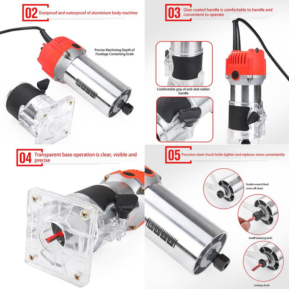 33000rpm Woodworking Electric Trimmer Wood Milling Engraving Slotting Trimming Machine Hand Carving Machine Wood Router