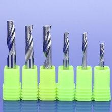 10 pces 3.175/4/5/6/8mm únicos cortadores de trituração da flauta para o carboneto contínuo de alumínio das ferramentas do cnc, painéis compostos de alumínio