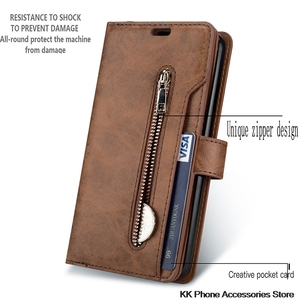 Image 2 - Rits Portemonnee Telefoon Geval Voor Samsung Note 10 Plus 9 8 A70 A50 A60 A40 A20E A7 Flip Leather Case voor Samsung S10 S9 S8 Plus S10e
