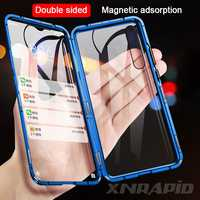 Boîtier en verre métallique à Adsorption magnétique pour Xiao mi 9 se 9t lite A3 cc9 cc9e funda rouge mi Note 7 8 5 6 K20 Pro Double face