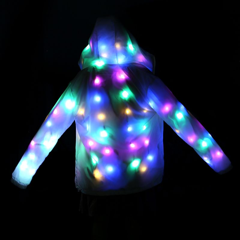 LED LED Party Clothes Colorful Glowing Flashing Lights Casual Hooded Pockets Jacket Coat Costumes Set Halloween Dacing Party