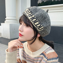 Wool Letter Beret Female Autumn Winter Women Korean Alphabet British Fashion Knitted Hats Tide Pink Berets Caps for Women