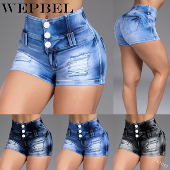 WEPBEL Denim Shorts Casual High Waist Solid Color Button Skinny Shorts Summer Casual Bleached Ripped Denim Pencil Shorts ripped bleached denim pants
