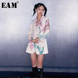 [EAM] Loose Fit Pattern Printed Bandage Long Jacket New Lapel Long Sleeve Women Coat Fashion Tide Spring Autumn 2020 1D491