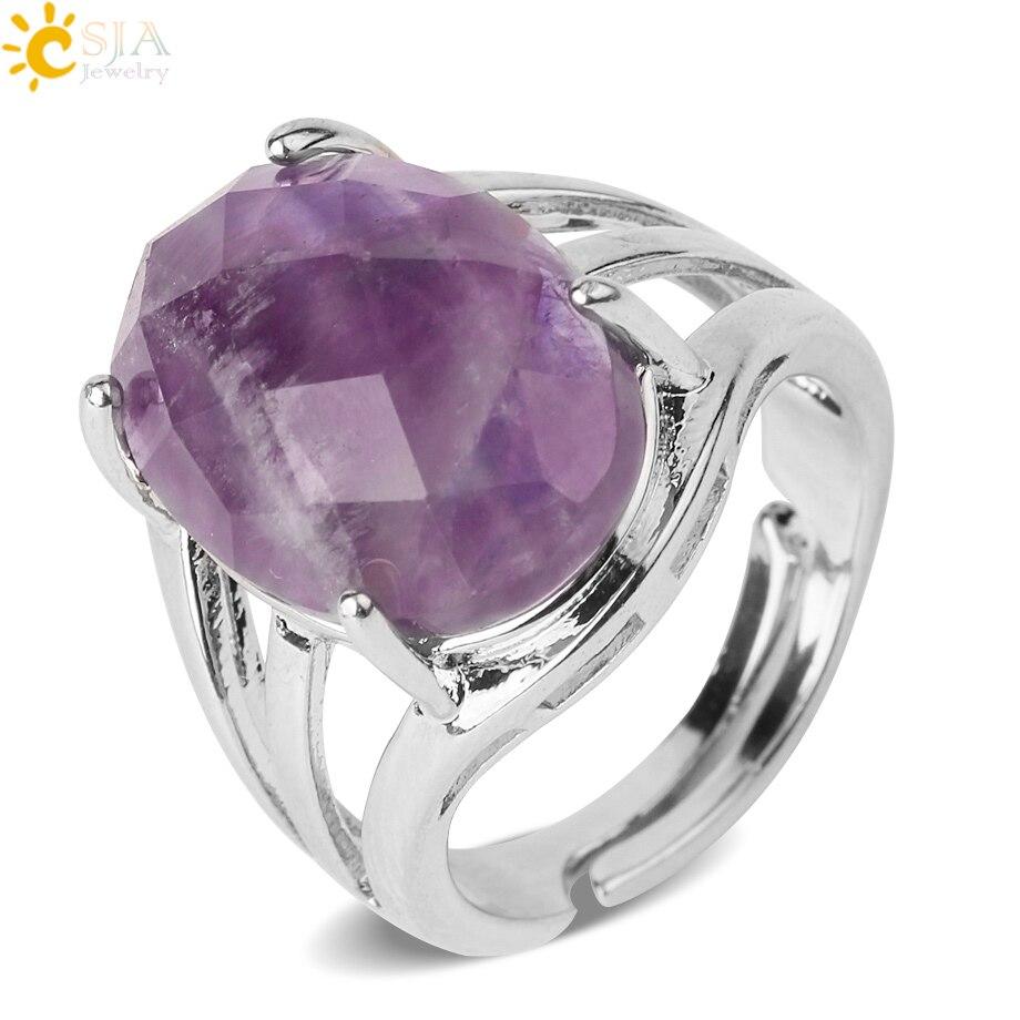 Кольцо CSJA с натуральным камнем в форме яйца женское, многогранное регулируемое кольцо с фиолетовым кристаллом и Лазуритом, серебристого цв...
